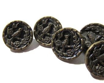 Victorian Buttons Bird in a Tree Antique Buttons Victorian Five (5) Buttons Edwardian Picture Buttons Jewelry Sewing Supplies (D282)