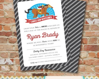 Derby Invitation- Horse Race / Kentucky Derby / Melbourne Cup / Birthday Party Invitation