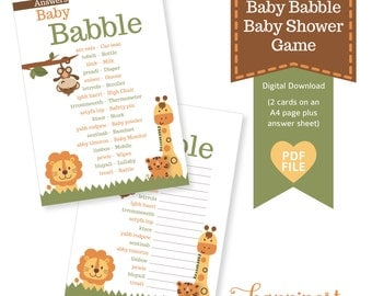 Baby Babble Baby Shower game- jungle safari inspired theme