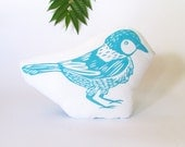 Plush Bird Pillow. Woodblock Printed. Choose Any Color. Made to Order.