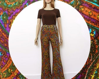 Vintage 1960s Bell Bottom Slacks Woodstock Era Colorful Paisley Bellbottoms / Extra Small