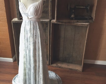 Something Blue Bridal~Crescent Bay Off White with Ice Blue Lace- Infinity Wrap Wedding Gown with Train, Bridesmaids, Maternity, Etc.