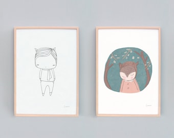 Two Sets of Art Prints, Monochrome and Green, A Bear in The Forest and Cute Little Creature