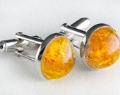 Striking Amber and Sterling Silver Cufflinks