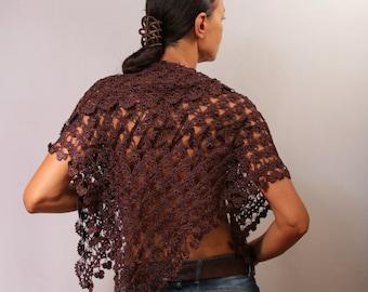 Dark Brown Crochet Lace Shawl, Crochet Shawl, Wedding Shawl, Crochet Scarf, Flower Shawl, Wedding Bridal Shrug Bolero, Women Accessories