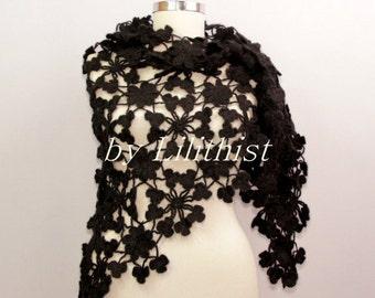 Black Shawl Wrap, Flower Shawl, Crochet Lace Shawl, Mohair Crochet Shawl, Ivory Wedding Shawl, Evening Flower Shawl, Women Accessories