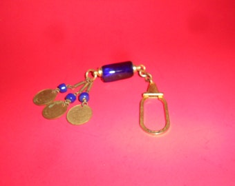 Cobalt Glass Charm Pendant Keychain Steampunk Cobalt & Coin Treasure Dangles