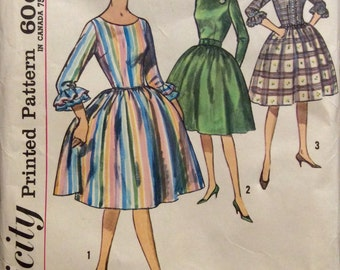 Vintage Sewing Pattern Dress Full Gathered Skirt  Fitted Bodice 1960's Miss Size 12