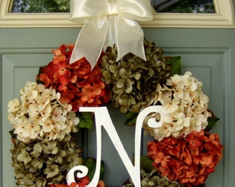 Fall Wreath - Fall Hydrangea Wreath - Fall Hydrangea Door Wreath - Fall Monogram Wreath