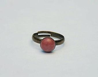 Pink Ring Pink Stone Ring Pink Rhodonite Ring Pink Gemstone Ring Oval Pink Ring Antiqued Gold Filigree Ring