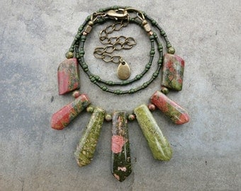 Tribal Unakite Statement Necklace, Bohemian moss green and pink stone fan necklace with graduated stone focal beads