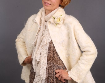 Wool felted coat jacket - Natural fleece -- Ready to Ship now