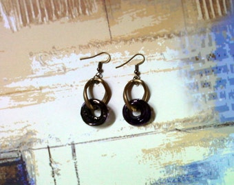 Dark Purple and Brass Earrings (2193)