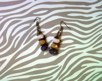 Gray, Latte and Ivory Earrings (2234)