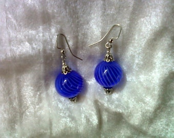 Cobalt Blue and White Hollow Handblown Glass Earrings (1211)