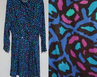 abstract 90s 1990s mini short long sleeve mandarin unique club kid hipster new wave professional dress small S kitsch cute