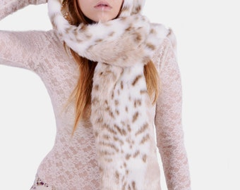 Faux Fur Siberian Snow Leopard Hat- Full Size