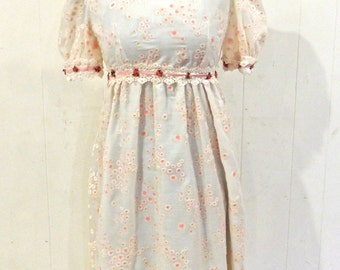 vintage eyelet maxi dress - 1960s-70s pink/white empire-waist long dress