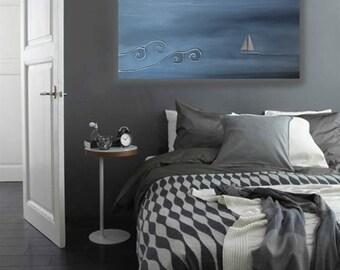 "24""x36"" Sailboat Original Painting Large Wall Art on Canvas Sailing Grey Cream White Free Shipping"