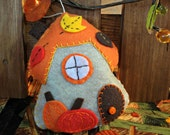 Autumn Gnome Cottage Felt Ornament
