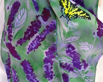 silk scarf long crepe Butterfly Bush hand painted unique sage green purple tiger swallowtail wearable art women fashion