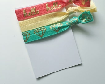 no crease elastic tie hairbands -- hello gem in marine parents inspired colors