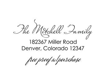 "Return Address Stamp with Handwriting Font.  Mounted with a Handle or Self-inking Return Address Stamp.  2 1/2 x 1"" (20350)"