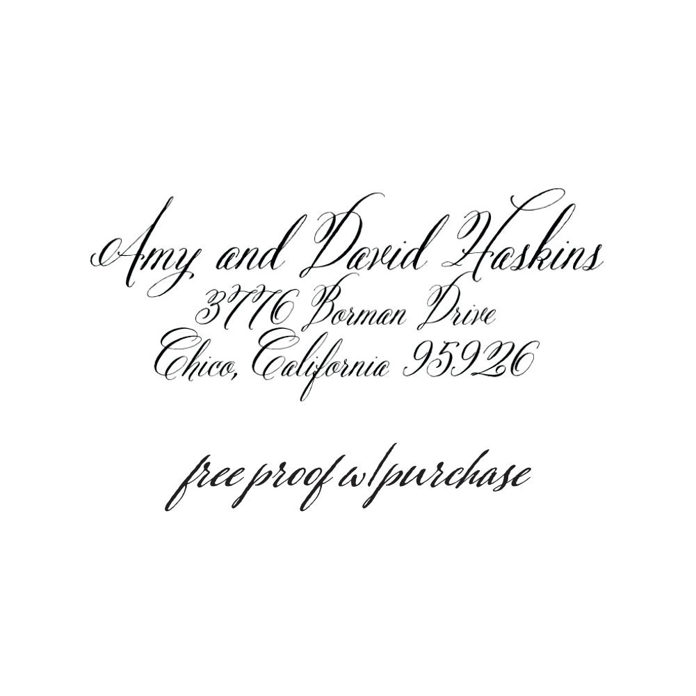 Custom Calligraphy Script Return Address Stamp Pick A