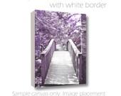 Lavender Dreamy Nature Surreal Woodland Photography Wooden Foot Bridge Fine Art Wall Art 8x10/11x14/16x20/20x30 Gallery Wrap Canvas
