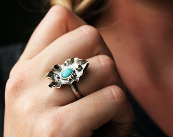 Beautiful Creature Ring -turquoise and sterling silver
