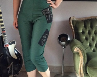 Handmade 50s style jumpsuit catsuit with bongo appliques in forrest green and gold