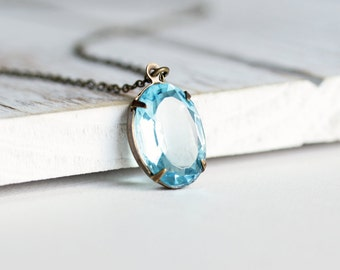 Aqua Blue Necklace - Blue Rhinestone Necklace with Antiqued Brass Chain, Blue Pendant Necklace, Vintage Style Jewelry, Retro Style Jewelry