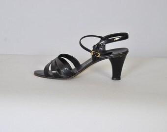 Vintage Shoes 70s Leather Slingbacks Black Amalfi Heels Sandals Noir Leather 30s Style sz 9 1/2
