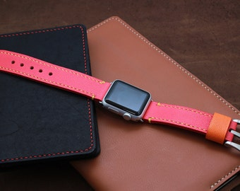 Apple Watch strap 38mm, Apple Watch Leather Band, iWatch Leather band, iWatch Strap in Caviar patterned CORAL RED (Free Personalized)