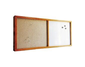 Vintage Bulletin and Dry Erase Board / Wood Frame / Magnetic