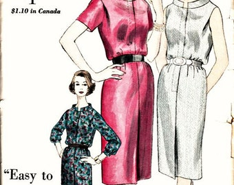 1960 MAD MEN Sheath Dress  VOGUE 5174  1960 Vintage Dress Pattern with Standing Band Collar  and Center Front Pleat  Bust 32