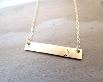 Musical Note Gold Bar Necklace. Hand Stamped Jewelry.  Minimalist, Engraved Necklace.  Layering Bar Necklace, Music Note, Musician Jewelry