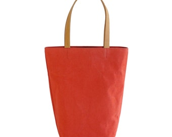Coral Red Canvas Cotton Day Tote  with Bridle Leather Straps
