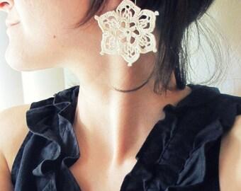 Star Crocheted Earrings - Ecru White, Bohemian Hand-crocheted Geometric Earrings, Dainty Handmade Cotton 2nd Anniversary Gift for Her
