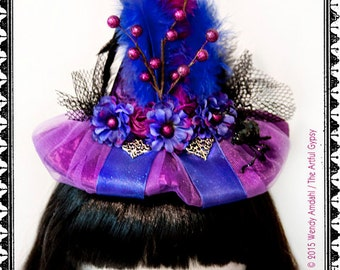 Halloween Witch Hat, Headband, Purple, Blue, Costume, Witch, Hat, Feathers, Berries, Spider