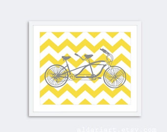Tandem Bike Art Print - Bicycle - Chevron Bike Print - Bike Poster Wall Art - Home Decor - Yellow and Gray - Aldari Art