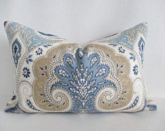 Linen Pillow Cover Latika 12 x 18 Lumbar Both Sides Blue Tan