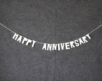party paper banner, HAPPY ANNIVERSARY- handmade, wall hanging, bedroom decor, house decor, interior decor, home decor, paper garland