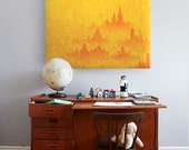 "Modern Cityscape Painting - Golden Yellow and Orange - City Dusk Oil Painting 36""x36"""