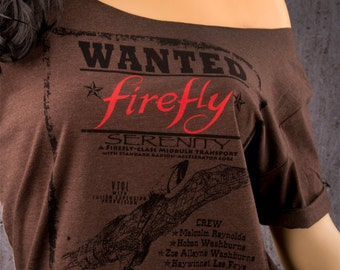 FIREFLY Shirt Off The Shoulder Slouchy Tee. Browncoats Want To Bring Firefly Back! Mal Reynolds & the Serenity Crew. Stay Shiny!