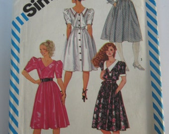 Misses Semi-Fitted Dress and Obi Sash Size 10 Vintage 1980's Simplicity Pattern 6242 UNCUT