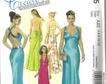 Evening Gown Halter Top Plunging Neckline Criss Cross Straps Bra Style Back McCall's M 6075 ©2010 Uncut FF Sizes 4 - 12 Bust 29.5 - 34