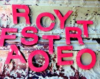 Vintage Theater Marquee Sign Letters Capital F O R S T Y: Small Pink / Red Metal Wall Hanging Initials -- Industrial Advertising Salvage