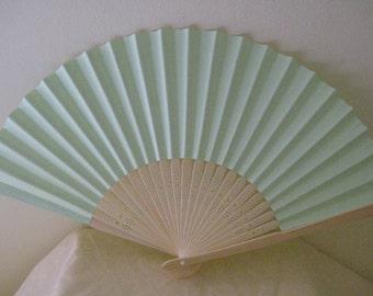 Regency/Victorian Style Fan. Pale Green Plain Paper. Hand Paint/Bridal Favour.