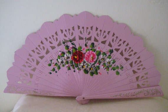Regency/Victorian Style Fan. Brise. Pink with Flowers. Hand Painted Wood